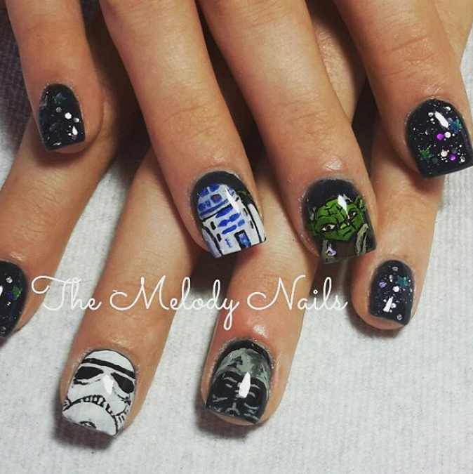 "<p>Stormtrooper, Darth Vader, R2D2, and Yoda nails by <a href=""https://instagram.com/themelodynails"">Melody Torres, </a><span id=""react-root""><span data-reactid="".0.1.0.0:0.1.1.2""><span data-reactid="".0.1.0.0:0.1.1.2.$text0:0:$end:0""><a href=""https://instagram.com/themelodynails"">Hard as Nails Salon &amp; Boutique</a>, Lockeford, Calif.</span></span></span></p>"