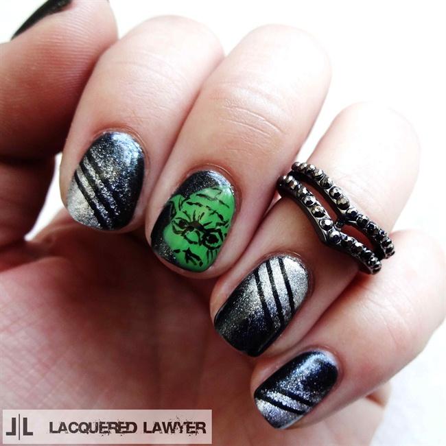"""<p>Yoda nails by <a href=""""http://nailartgallery.nailsmag.com/lacqueredlawyer"""">Lindsay Yoshitomi</a></p>"""
