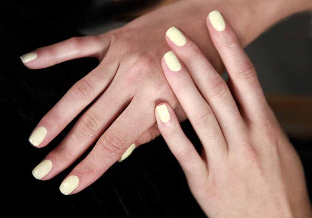 <p>For a pool party-ready nail look, Zoya nail tech Sunshine Outing mixed a custom whited blue and Bela for fresh pastels at Timo Weiland. Photo courtesy of ZOYA.</p>