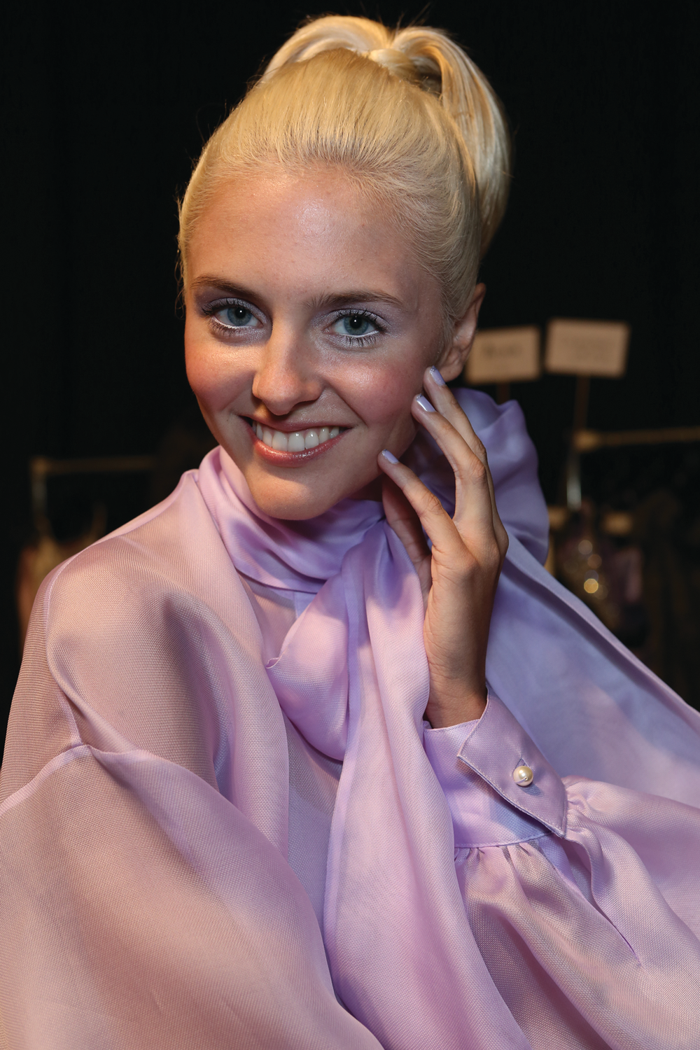 <p>Zang Toi&rsquo;s French Riviera-inspired collection featured three custom ice princess shades by <strong>Zoya</strong>. Featured here is Julie, an icy cool lilac with micro diamond particles.</p>
