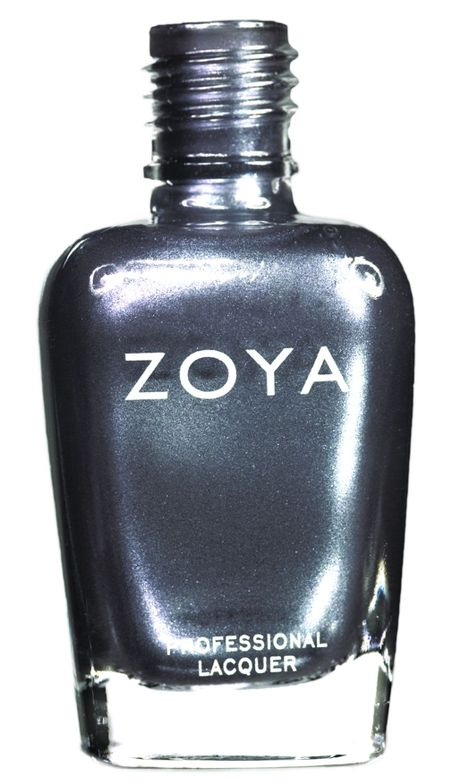 <p><strong>Zoya Nail Polish</strong> in Freja is a smoky, shimmering gunmetal grey with hints of blue and sprinkled with silver.</p>