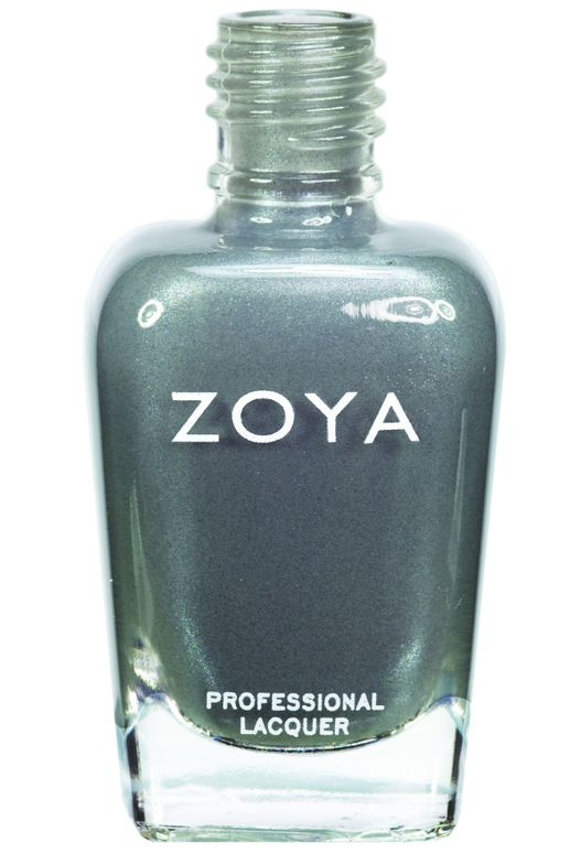 <p><strong>Zoya Nail Polish</strong> in Tao is a light smoke grey with blue undertones and a muted, softened metallic finish.</p>