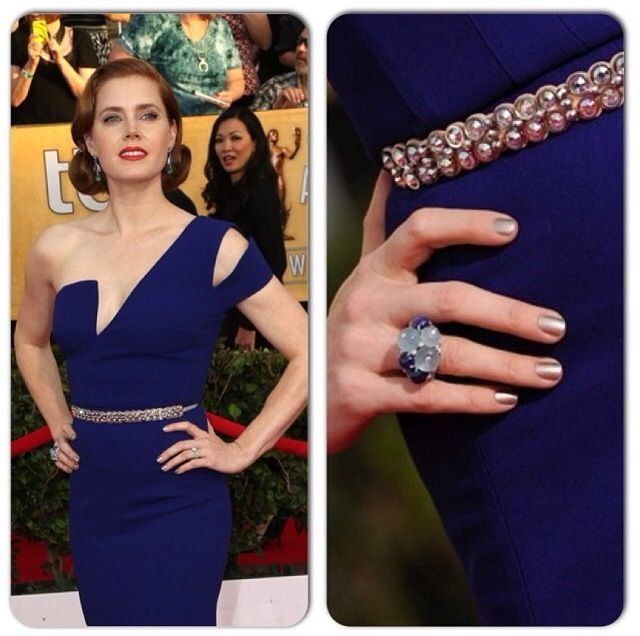 <p>Tom Bachik gave Amy Adams a metallic mani for the SAG Awards. Image via @tombachik.</p>