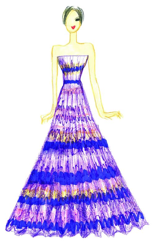 <p>Exotic <strong>African Violet</strong> is a statement color that brings a touch of intrigue to the palette, as purples often do, and can be incorporated into many unexpected combinations. Illustration by Tadashi Shoji. <em>Originally appeared in The Pantone Fashion Color Report Spring 2013.</em></p>