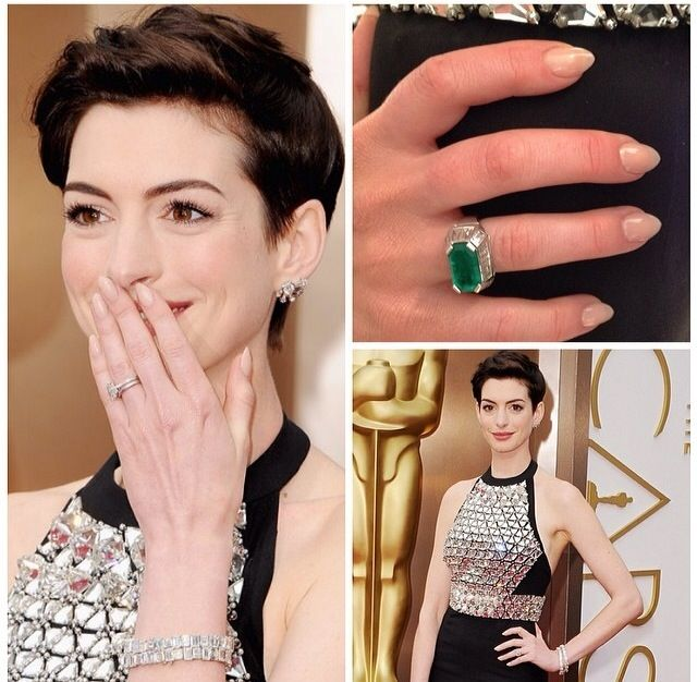 <p>Tom Bachik created this custom shape (sharp almond) and painted them with L'Oreal Paris Chinchilla and Sweet Nothings for the Oscars. Image via @tombachik.</p>