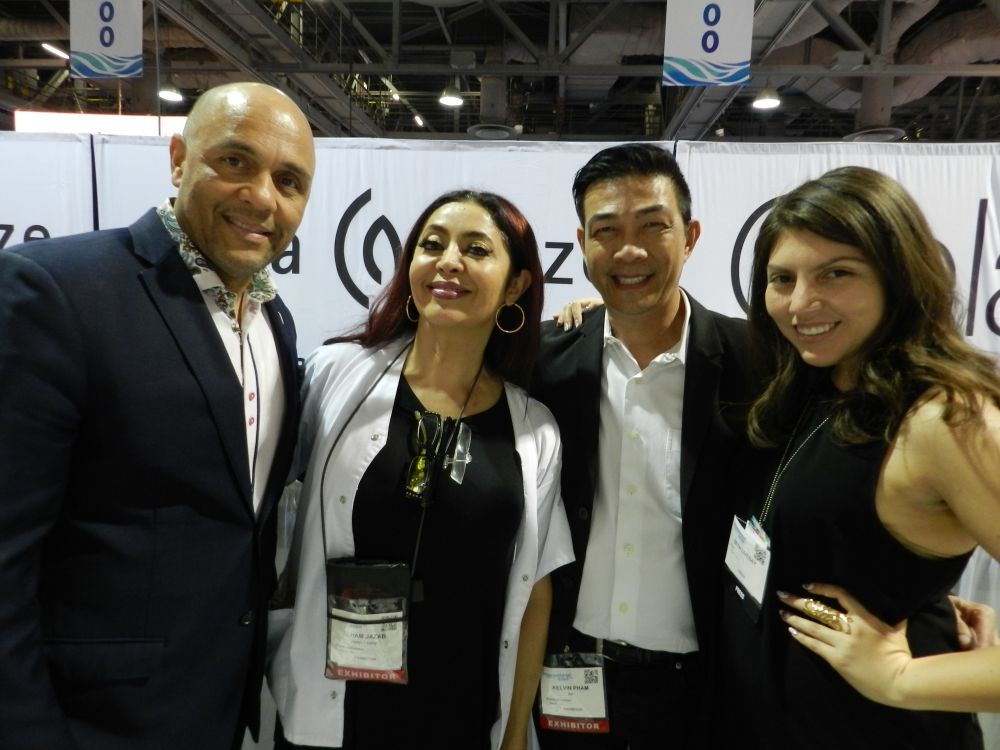 <p>Donald Anderson, Elham Jazab, and Kelvin Pham of AII with NAILS' Beth Livesay.</p>