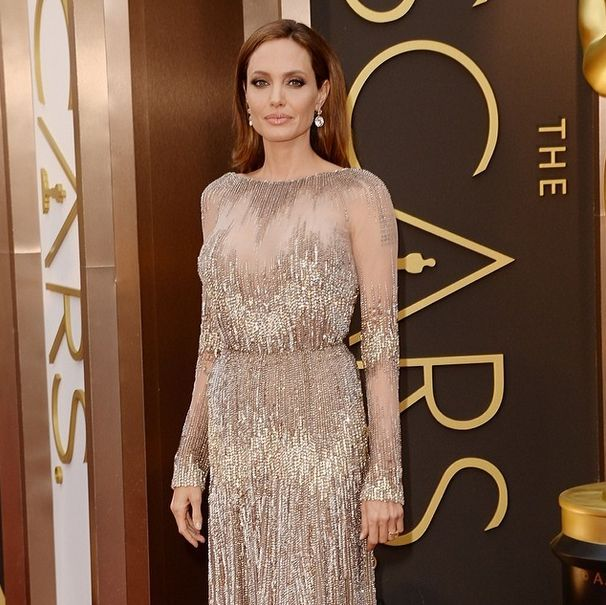 <p>Angelina Jolie wore Essie's Sugar Daddy to the Oscras. Image via @essiepolish.</p>