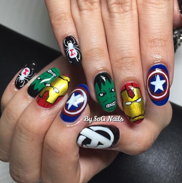 """<p>Avengers nails by Fan WenQing, <a href=""""https://instagram.com/soqnails"""">@soqnails</a>, Singapore</p>"""