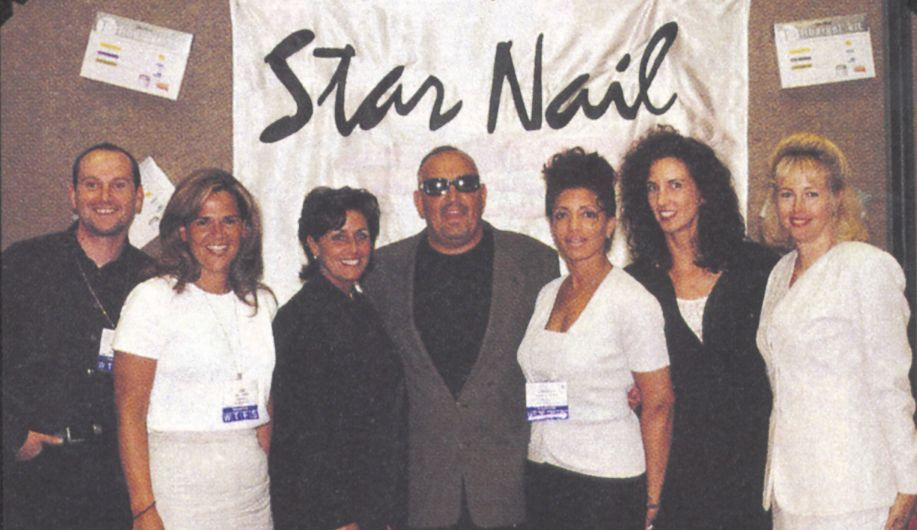 <p>In keeping with its global theme, Star Nail Products&rsquo; international team included (from left) Mark Didcock from England, Kim Tanner of Canada, Janice Lonardo of the USA, CEO Tony Cuccio, and Angela Herna who educates in various cities in South America, as well as Christina Jahn and Sandra Siepak from the home office in California.</p>