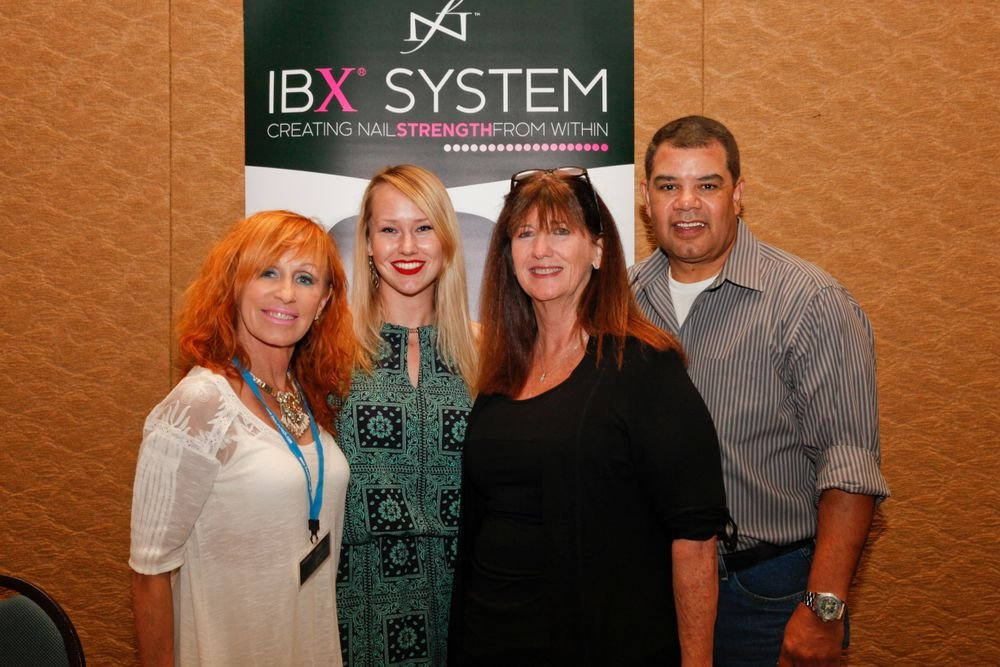 <p>NAILS' Shannon Rahn (second from left) with the Famous Names team of Linda Nordstrom, Lisa Cooper, and Ken Cooper</p>