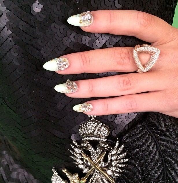 <p>Natalie Minerva blinged out Bonnie McKee's Grammy mani. Image via @nail_swag.</p>