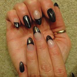<p>TAOND student Brenda Braun-Thumb created these alternative French nails.</p>
