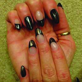 <p>TAOND student Brenda Braun-Thumb created these alternative French nails.</p>