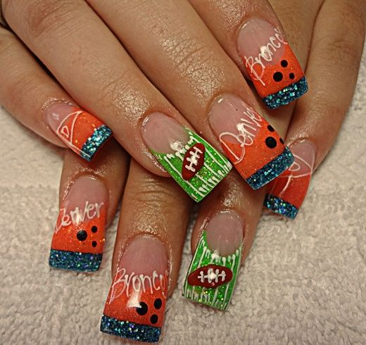 <p>Bronco nail art by&nbsp;Denise Groves&nbsp;</p>
