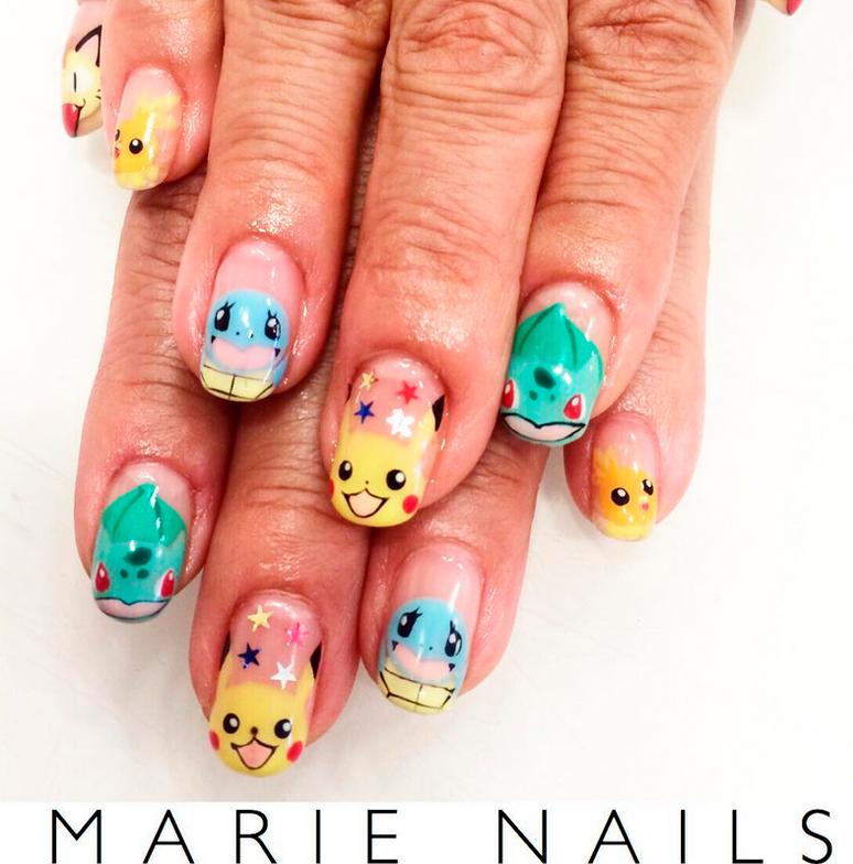"<p>Meowth, Pikachu, Squirtle, Bulbasaur nail art by <a href=""https://www.instagram.com/marienails/"">@marienails</a></p>"