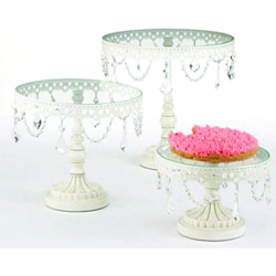 <p>Sometimes the most creative &shy;design ideas come from the most unconventional places. A baking store is actually a cute place to shop for display components. These jeweled stands come in a set of three for $150 from fancyflours.com. Use them to display polish, nail art, &shy;jewelry, or business cards.</p>