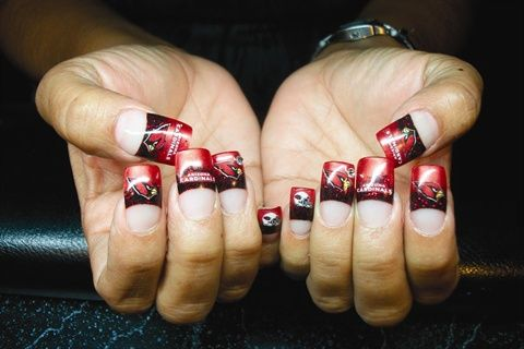 <p>Cardinal nails by Doreen Begay&nbsp;</p>