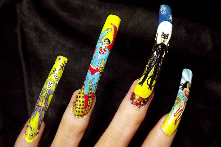 """<p>Close-up of Joker, Superman, Catwoman, and Wonder Woman nails by <a href=""""http://nailartgallery.nailsmag.com/clair_bennett"""">Clair Bennet</a>, United Kingdom</p>"""