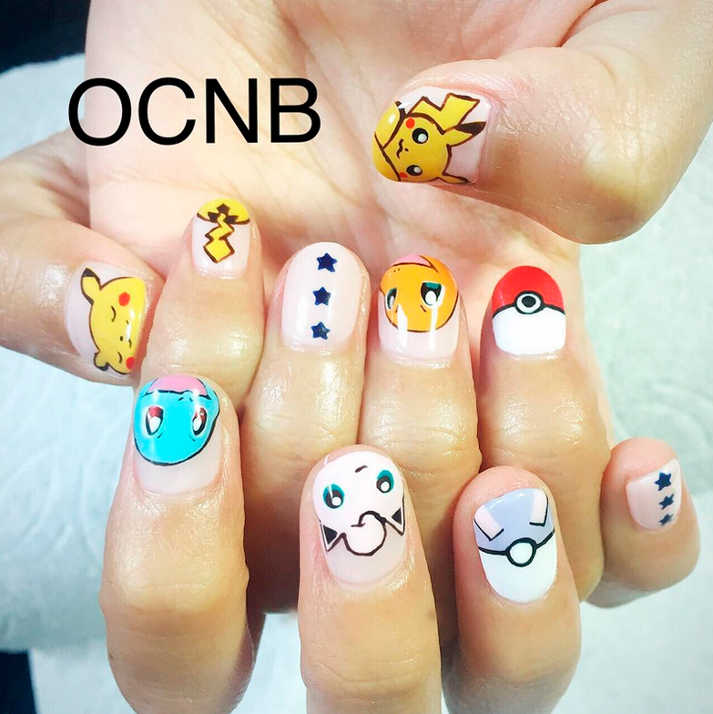 "<p>Pikachu, Squirtle, Jigglypuff, Charmander nail art by <a href=""https://www.instagram.com/ocnb/"">@ocnb</a></p>"