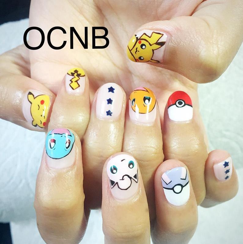 "<p>Pikachu, Squirtle, Jigglypuff, Charmander nail art by <a href=""https://www.instagram.com/ocnb/"">@ocnb</a></p>"