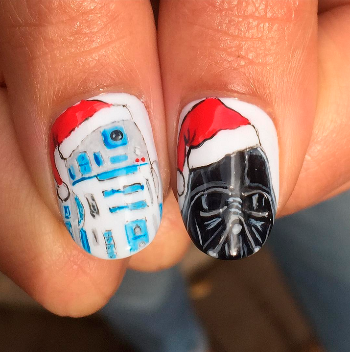 "<p>Christmas Star Wars nails by Fabian Robles, Woodland Hills, Calif. (<a href=""https://www.instagram.com/thenailartistfr/"">@thenailartistfr</a>)</p>"