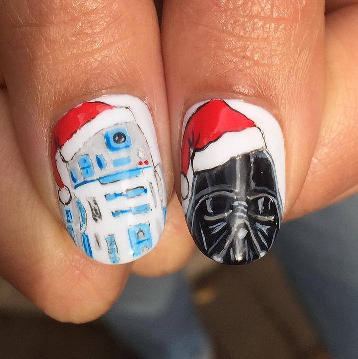 "<p>Christmas Star Wars nails by Fabian Robles, Woodland Hills, Calif. (<a href=""https://www.instagram.com/thenailartistfr/"">@thenailartistfr</a>)</p>"