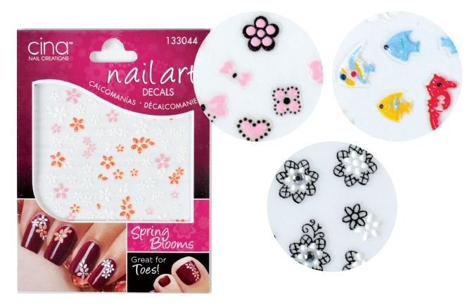 """<p class=""""sidebar-WhitneyBASICTEXT""""><span style=""""font-family: Times New Roman;"""">Inspired by fashion and style trends from around the world, Cina&rsquo;s Nail Art Decals give nail techs a fun and fast way to enhance any manicure or pedicure. The small embellishments are easy to use and come in a variety of themes like &ldquo;Under the Sea,&rdquo; &ldquo;Punky Princess,&rdquo; and &ldquo;Spring Blooms.&rdquo; <br /><a href=""""http://cinapro.com/"""">http://cinapro.com/</a></span></p>"""