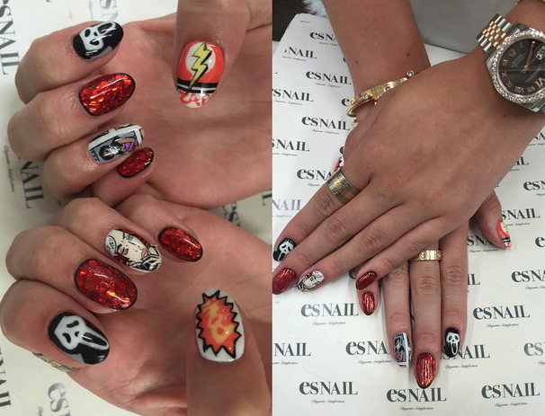<p>Actress Bella Throne visited ES Nail in Los Angeles to get ready for Comic-Con with Scream-inspired nails. Photo via Instagram @bellathorne.&nbsp;</p>