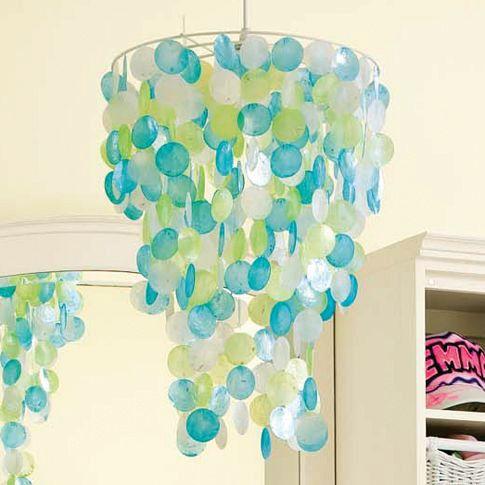 <p>The confetti-like chandelier from &shy;pbteen.com is &shy;festive and can be purchased for $129.</p>