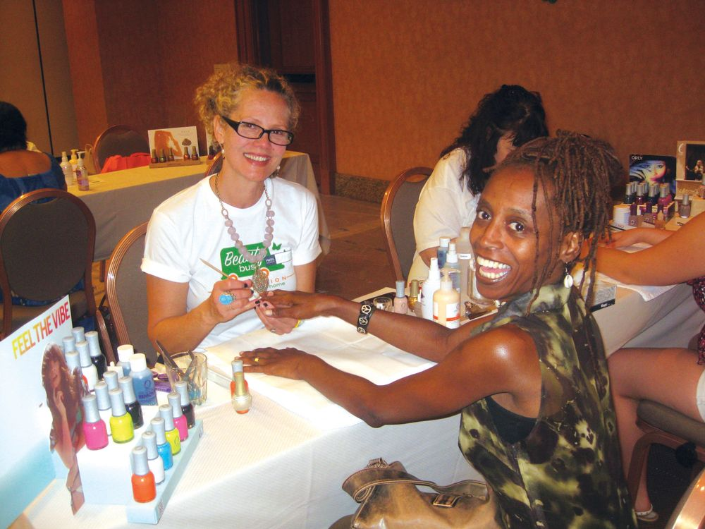 <p>Nonprofit Beauty Bus opened its first-ever national pop-up salon in Las Vegas during the show, where beauty professionals like nail tech Camera Butler provided free services to clients from the National MS Society and the Make-a-Wish Foundation of Southern Nevada. The salon was supported by SpaRitual, Orly, and InStyler Professional.</p>