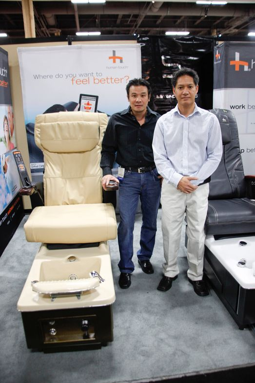 <p>Beyond Designs' Vincent Vu and Huy That Ton promoted their new modular chairs with Human Touch massage technology.</p>