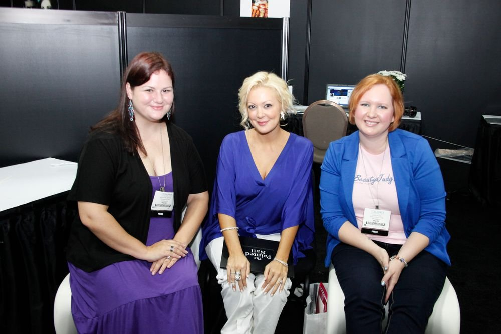 <p>Katie Cazorla (center) met with beauty bloggers Krystal Seidel of polishgalore.com (left) and Judy Rusk of beautyjudy.com to talk about a few exiting new products she will soon unveil.</p>