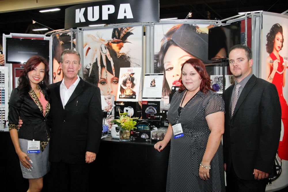 <p>Beautiful Nails by Kupa educator Sindy Mark, Kupa president Richard Hurter, customer service manager Sara Smith, and repair &amp; service manager Robert Arthur</p>