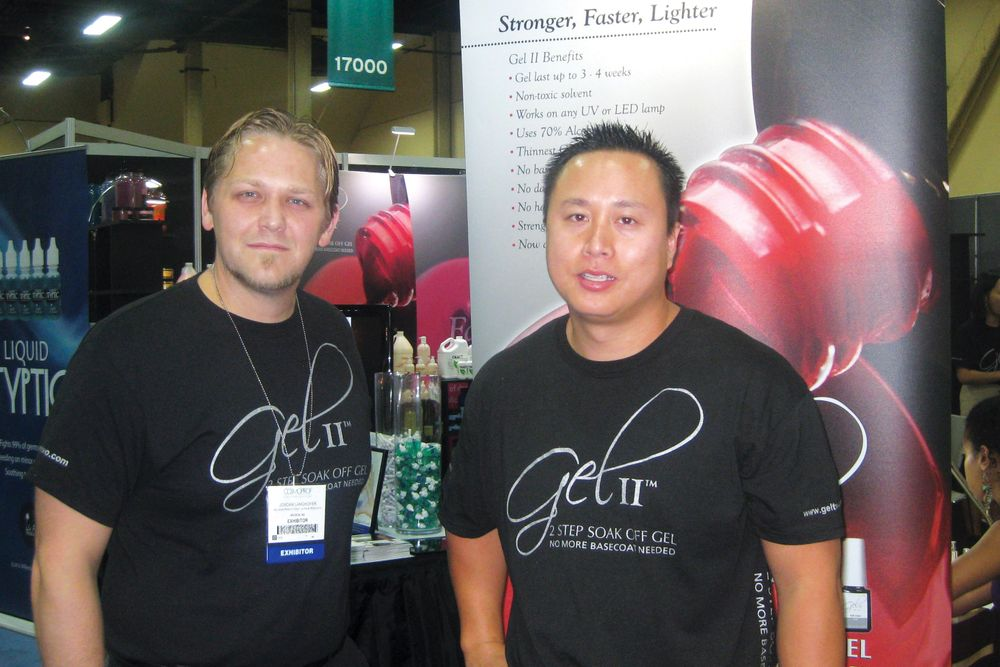 <p>Jordan Langhofer and Michael Le explained LaPalm&rsquo;s Gel II products with the help of informative T-shirts that declared &ldquo;no more base coat needed.&rdquo;</p>