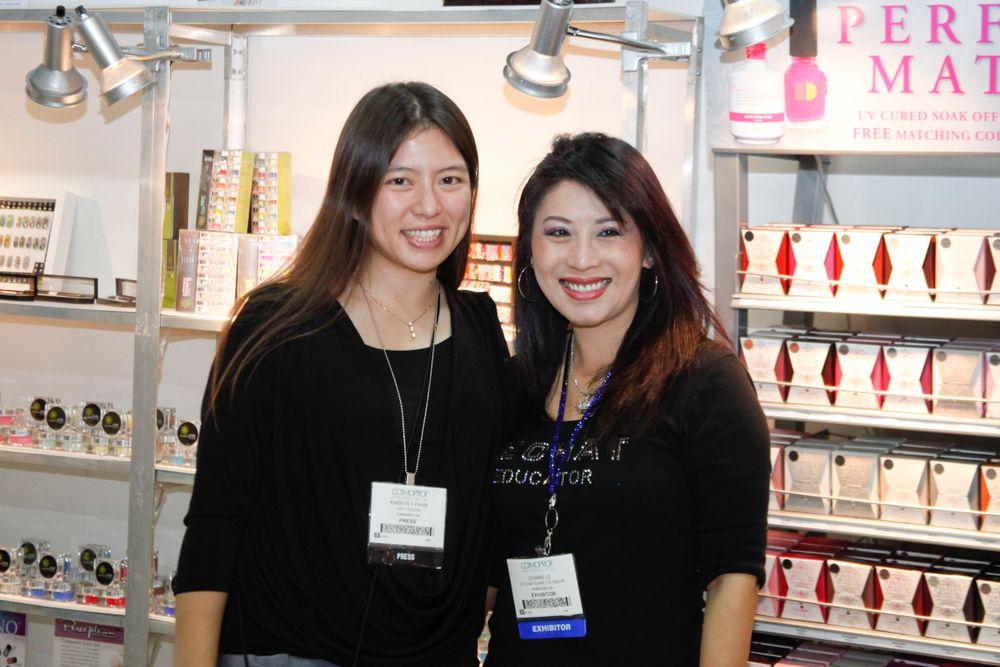 <p>VietSALON associate editor Kim Pham with LeChat educator Connie Le.</p>