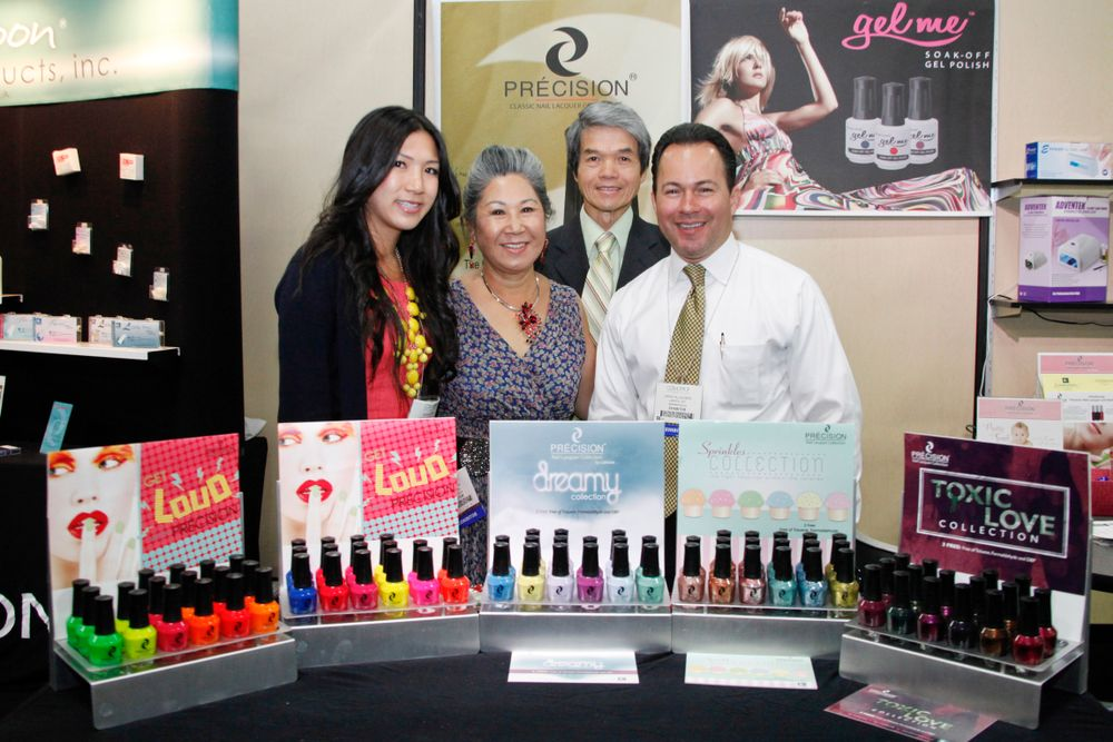 "<p>Family-owned <a href=""http://www.lamoonbeauty.com/"">Lamoon Beauty</a> promoted their new Pr&eacute;cision nail lacquers. Pictured above are Lamoon Beauty assistant manager Sophia Tran, owners Janine and Don Tran, and Erick Villalobos in sales.</p>"