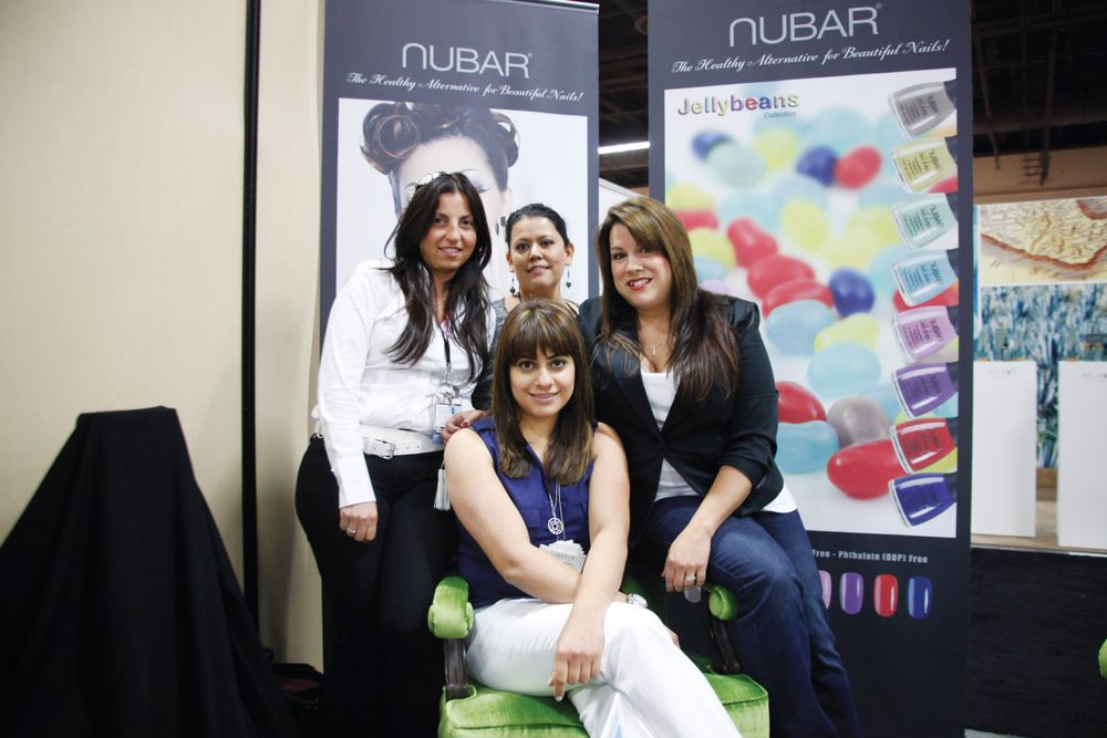 <p>Nubar&rsquo;s Aileen Atlas, Gabby Sanchez, Lona Martinez, and Aime Abrahamian (front) were all smiles on the show floor.</p>