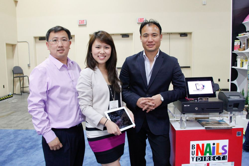 <p>QGS' Phi Nguyen with Vanessa Vu and Nhat Phan promoted their point of sales (POS) software tool that is compatible with the iPad.</p>