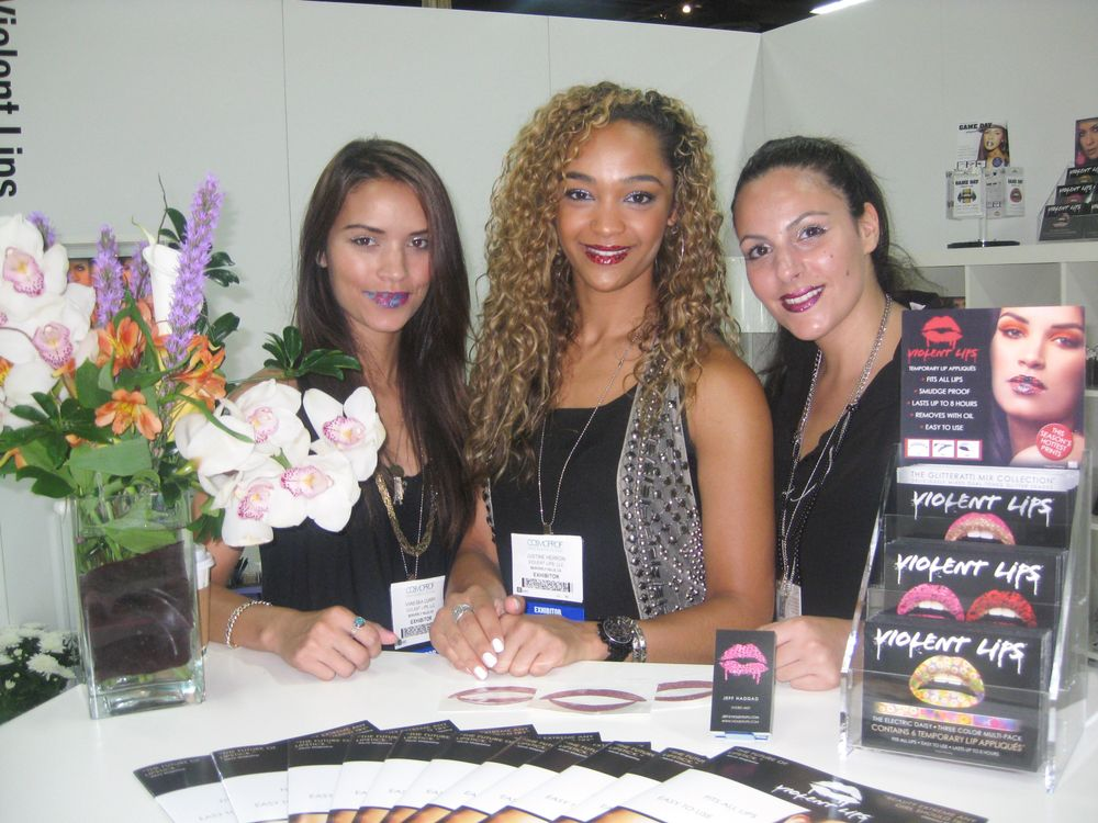 <p>Vanessa Curry, Justine Herron, and Ravid Yosef showed off the company&rsquo;s signature &ldquo;Violent Lips.&rdquo;</p>