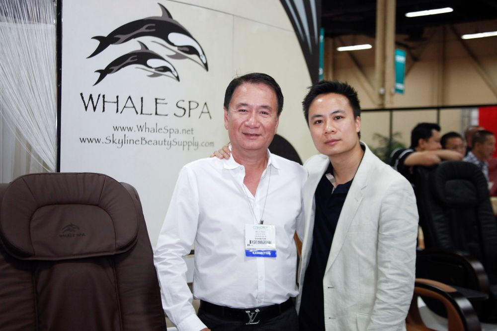 <p>Father and son team of Billy and Johnny Ngo with new pedicure spa chairs from Whale Spa.</p>