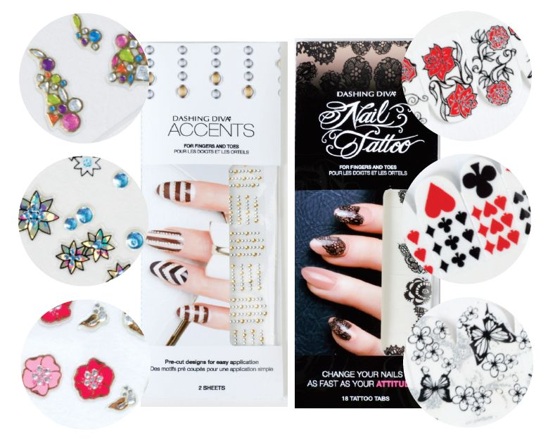 """<p class=""""sidebar-WhitneyBASICTEXT""""><span style=""""font-family: Times New Roman;"""">Nail Tattoos and Nail Accents from Dashing Diva add quick and spunky art to any mani. Pre-cut Accents feature a superior adhesion formula for easy application and complement any overlay. Nail Tattoos, which are transferred with water, are sealed with a top coat, top gel or acrylic.&nbsp; <br /><a href=""""http://www.dashingdiva.com"""">www.dashingdiva.com</a></span></p>"""