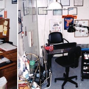 """Debbie Doerrlamm's """"command center"""" includes both an office area and a nail workstation (in two..."""