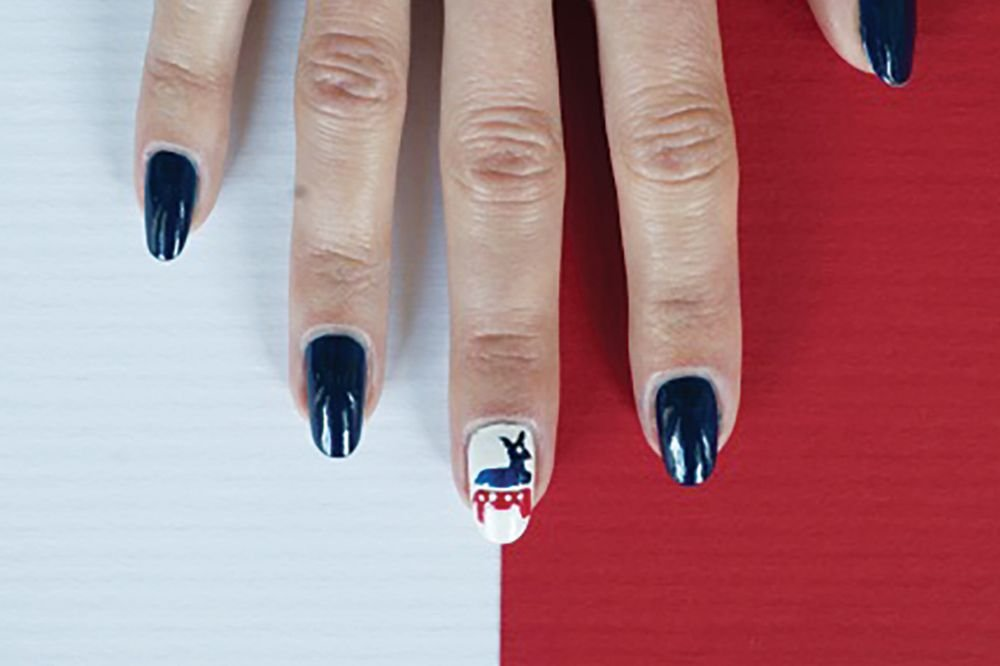 """<p>Democratic donkey nail art by Tammy Nguyen, Bellacures, Los Angeles&nbsp;<a href=""""http://www.instagram.com/bellacures"""">@bellacures</a></p>"""