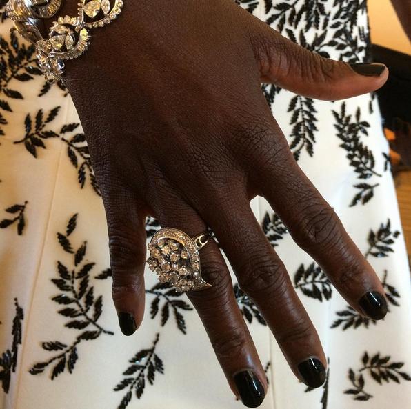<p>Nail tech Julie K polished Emmy winner Viola Davis in Essie Licorice. Image via @julieknailsnyc.</p>