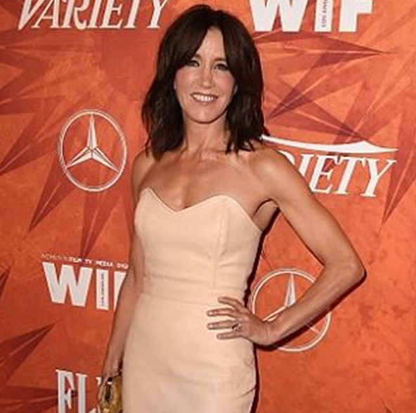 """<p>Snyder also polished&nbsp;Felicity Huffman in <a href=""""http://www.nailsmag.com/search/?q=caption+polish"""" target=""""_blank"""">Caption Polish</a> Cool, Calm, and Collected with Come to Mama Top Effect. Image via @sweetbcreations.</p>"""