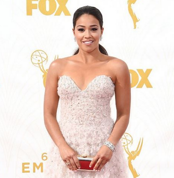 <p>Snyder then used Caption Polish Let Life Unfold on Gina Rodriguez. Image via @sweetbcreations.</p>
