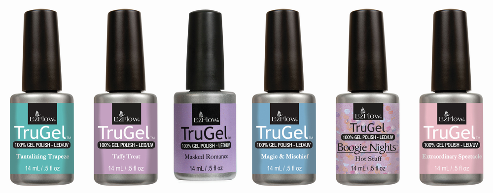 <p>Enjoy a color extravaganza brought to you by EzFlow TruGel gel-polish. Five bright pastel creams and iridescent toppers are sure to catch the eye with a flawless finish and long-lasting shine.</p>