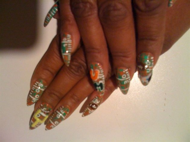 <p>Footbal field nails by&nbsp;Tracy Harris</p>