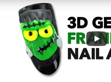 3-D Frankenstein's Monster Nail Art