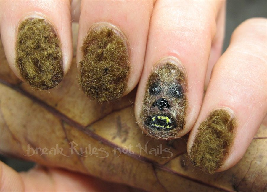 "<p>Fuzzy Chewbacca nails using polish and flocking powder, nails by <a href=""http://nailartgallery.nailsmag.com/brkrulesntnails"">Michelle Stutterheim</a>, Sapphire Beach, New South Wales, Australia</p>"